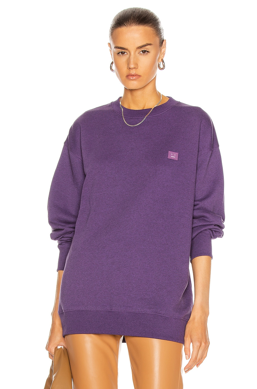 Image 1 of Acne Studios Forba Face Sweatshirt in Electric Purple