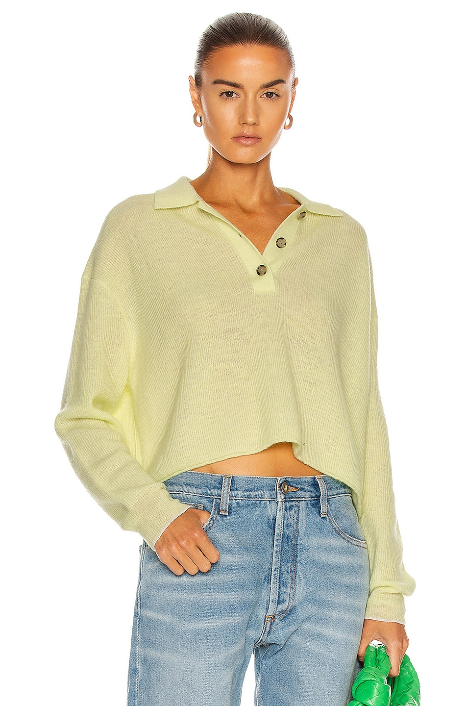 Image 1 of Acne Studios Polo Sweater in Lemon Yellow