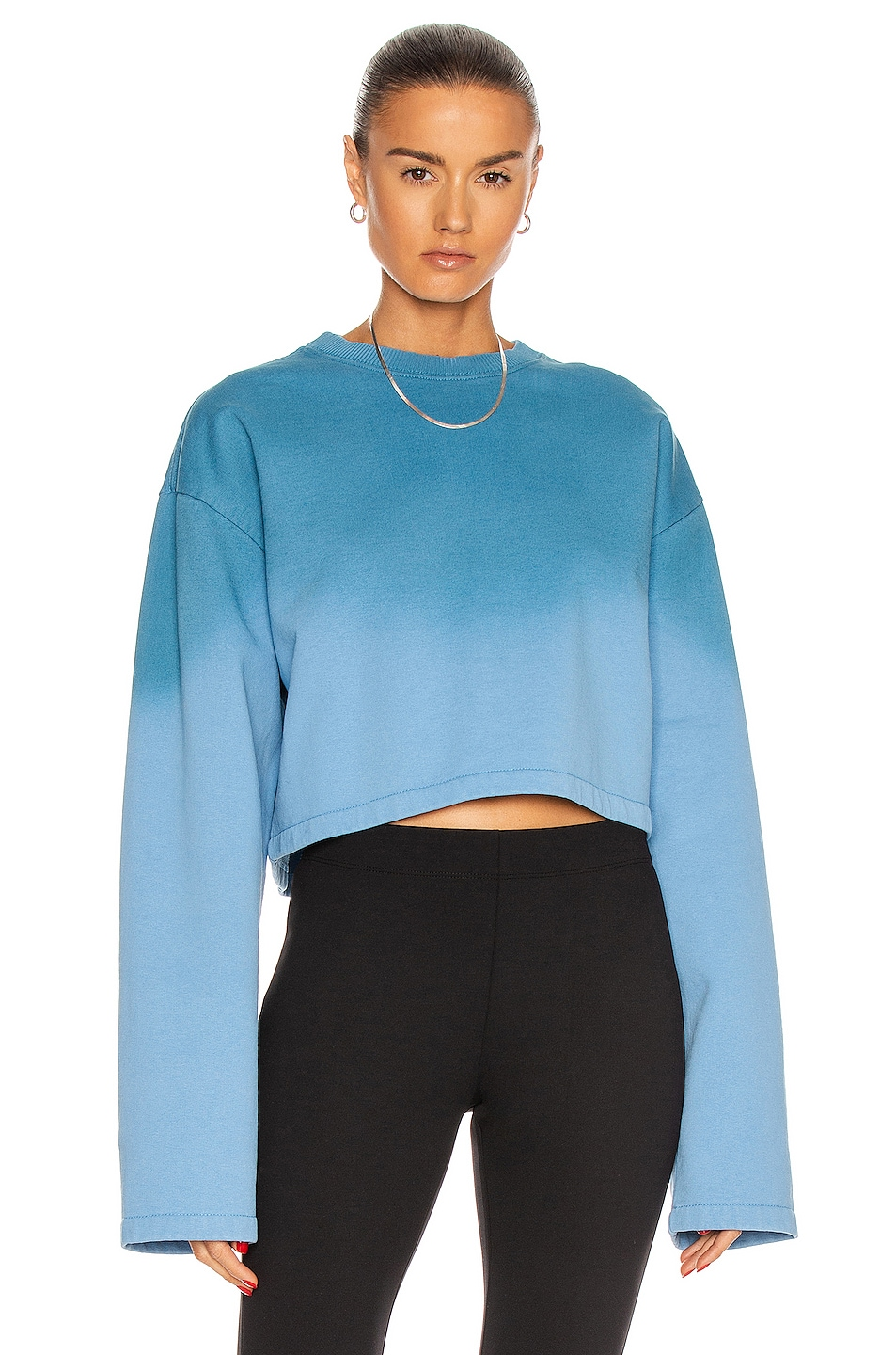 Image 1 of Acne Studios Ombre Cropped Sweater in Aqua Blue & Dusty Blue