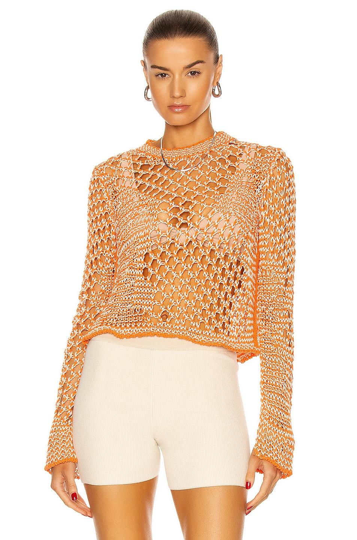Image 1 of Acne Studios Knit Sweater in Orange & White