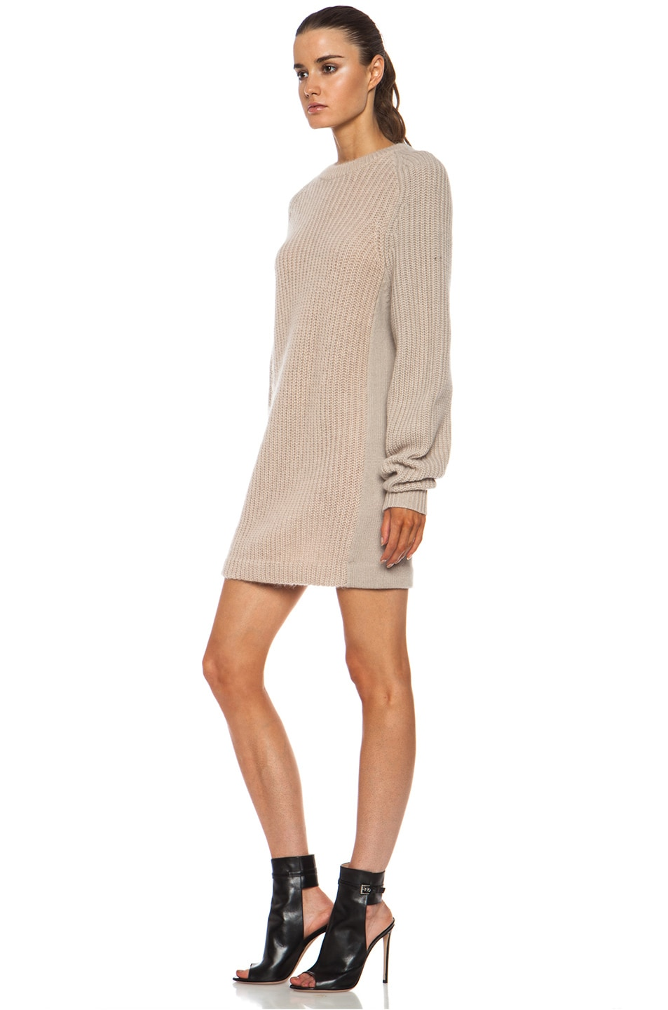 Image 2 of Acne Studios Davina Mix Mohair-Blend Sweater in Beige
