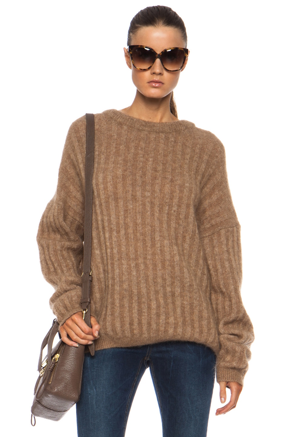acne studios dramatic mohair blend sweater in camel fwrd. Black Bedroom Furniture Sets. Home Design Ideas