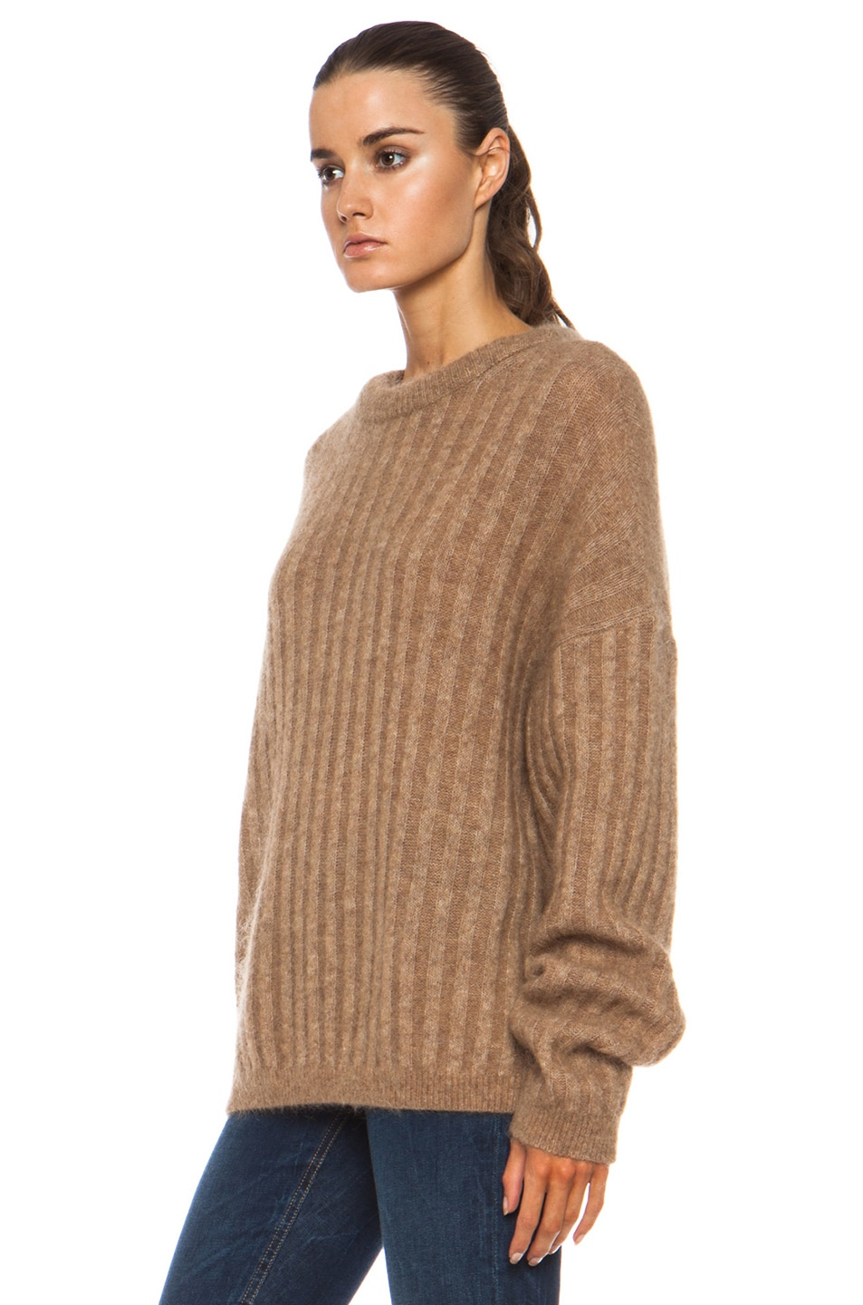 eb6b3488c33ae Image 2 of Acne Studios Dramatic Mohair-Blend Sweater in Camel
