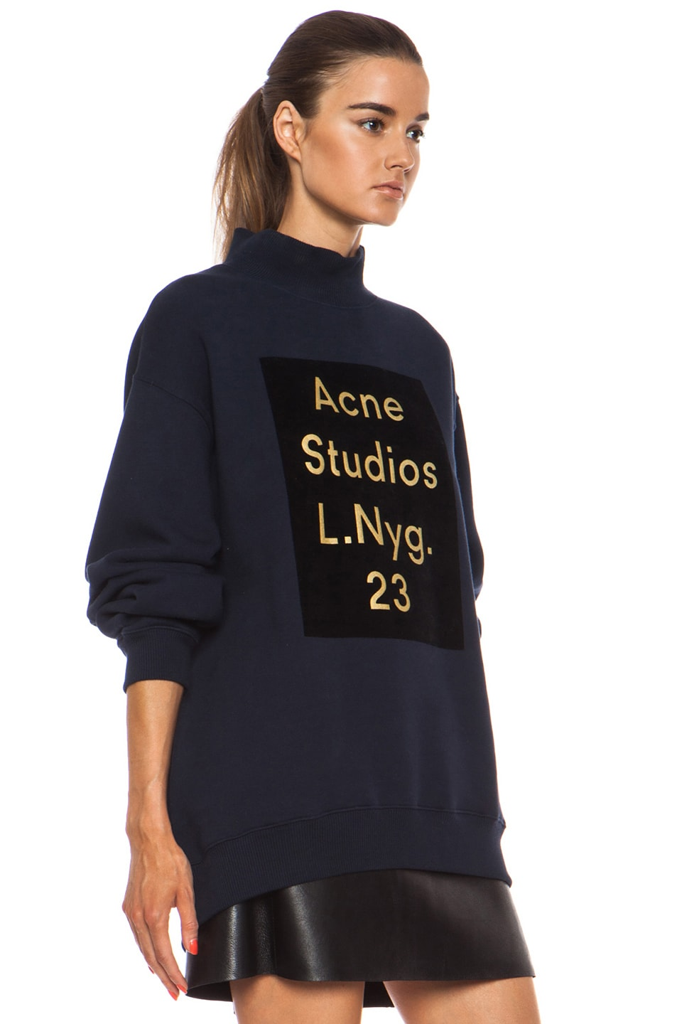 acne studios beta flock pullover in midnight blue fwrd. Black Bedroom Furniture Sets. Home Design Ideas