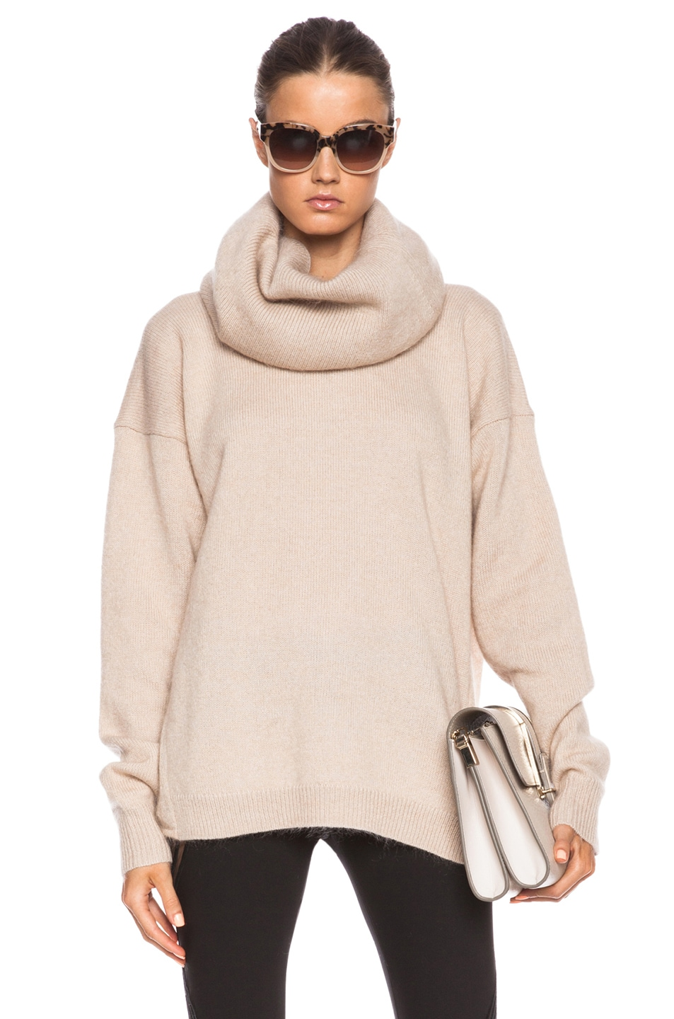 Image 1 of Acne Studios Demi Mix Turtleneck Sweater in Beige