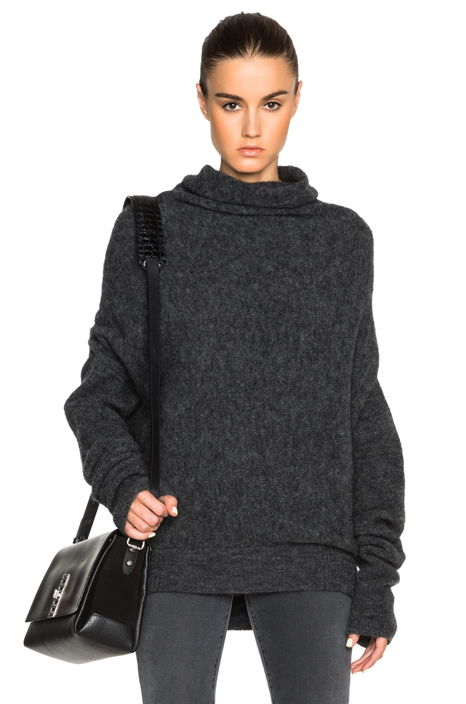 Image 1 of Acne Studios Vendome Drape Mohair Sweater in Dark Grey Melange 66ab48bfc3e
