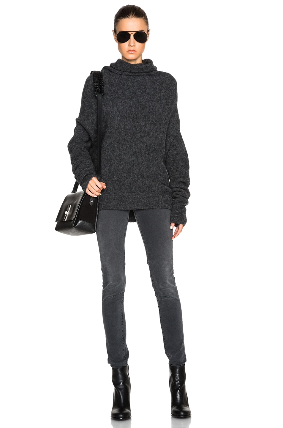 Image 5 of Acne Studios Vendome Drape Mohair Sweater in Dark Grey Melange 3236a3038a7