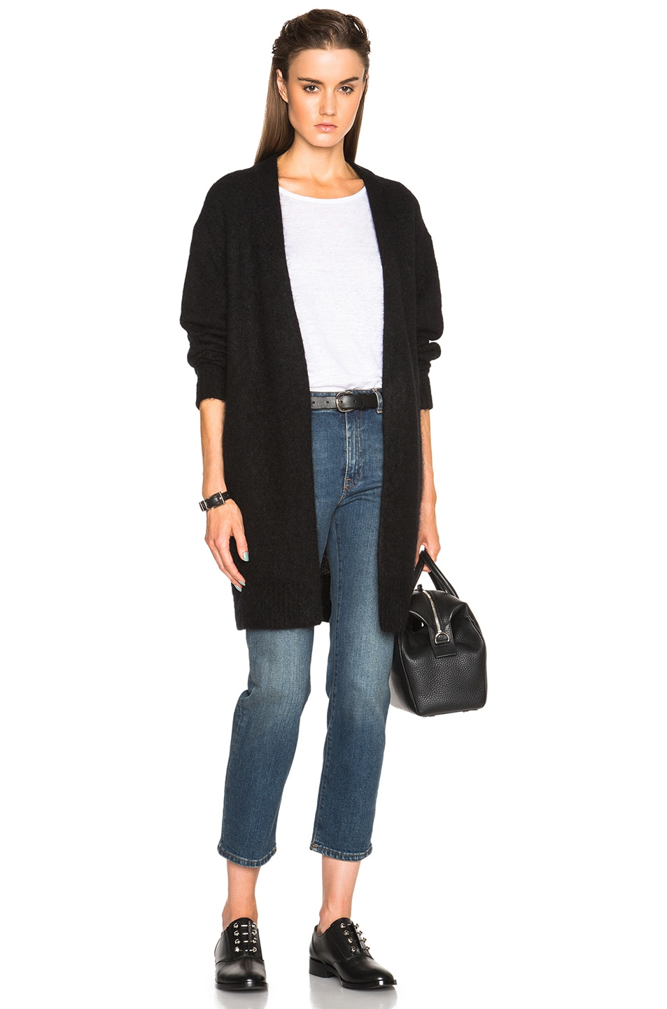 Image 1 of Acne Studios Raya Short Mohair Sweater in Black