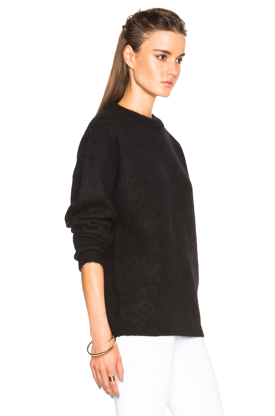 Image 3 of Acne Studios Dramatic Mohair Sweater in Black