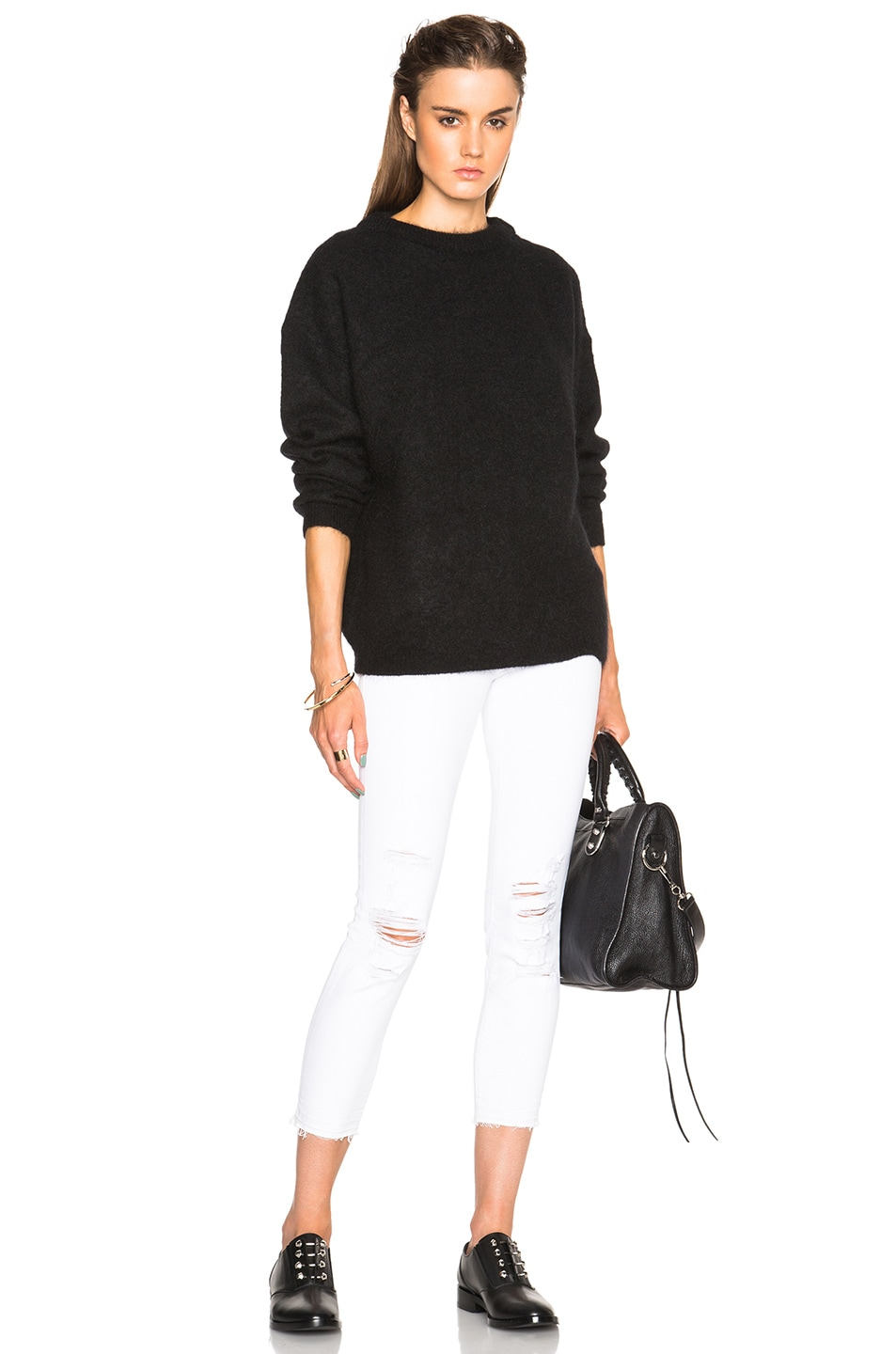 Image 5 of Acne Studios Dramatic Mohair Sweater in Black
