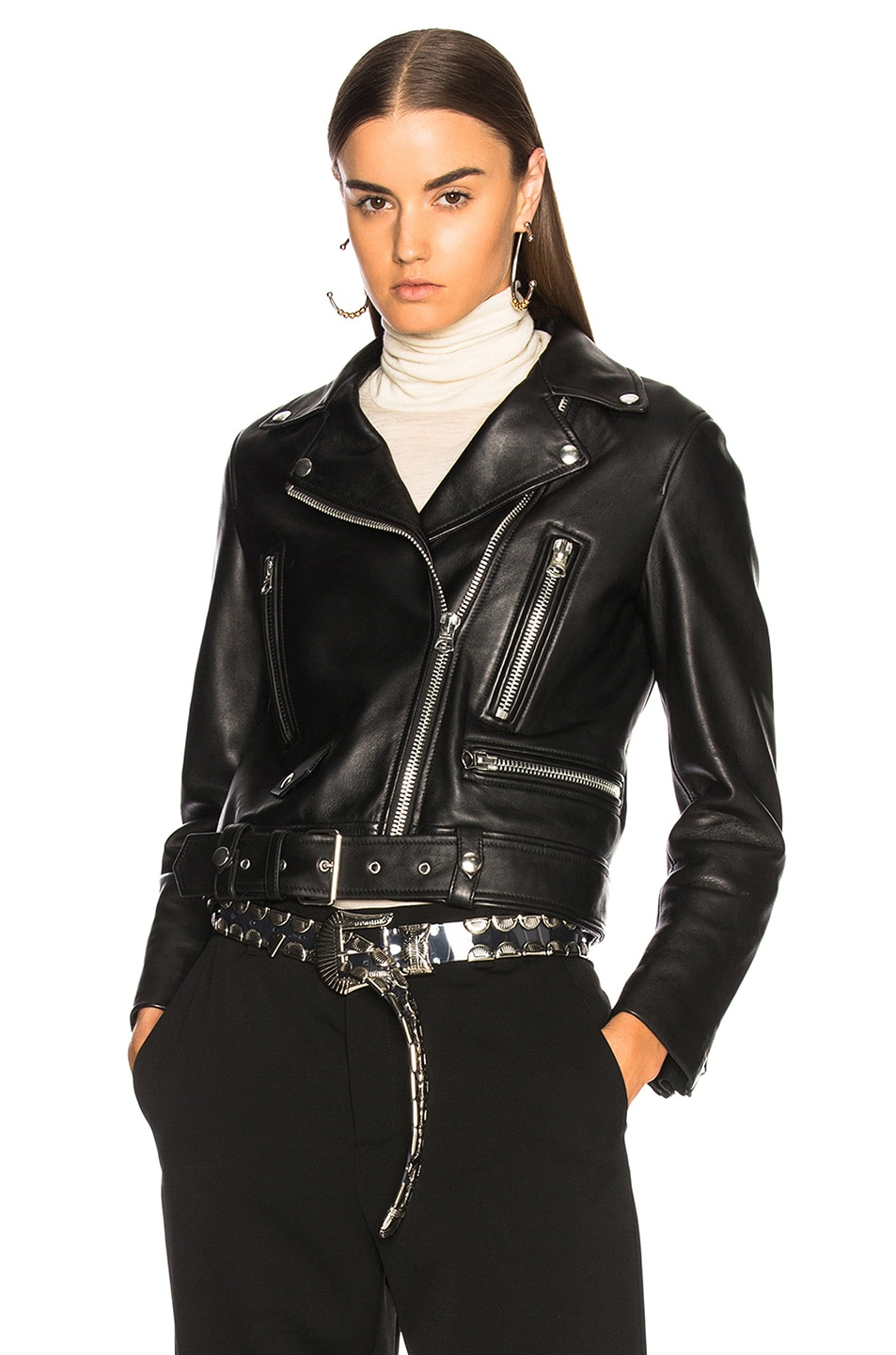 Merlyn Relaxed Leather Biker Jacket, Black