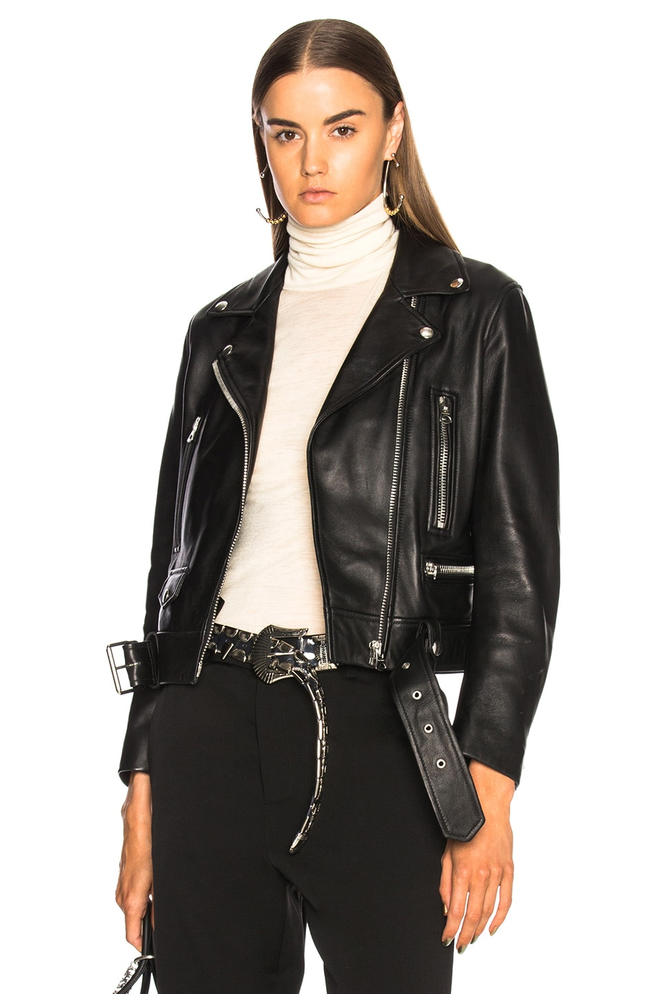 Image 2 of Acne Studios Mock Leather Jacket in Black