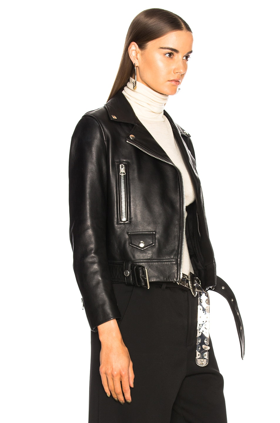 Image 3 of Acne Studios Mock Leather Jacket in Black
