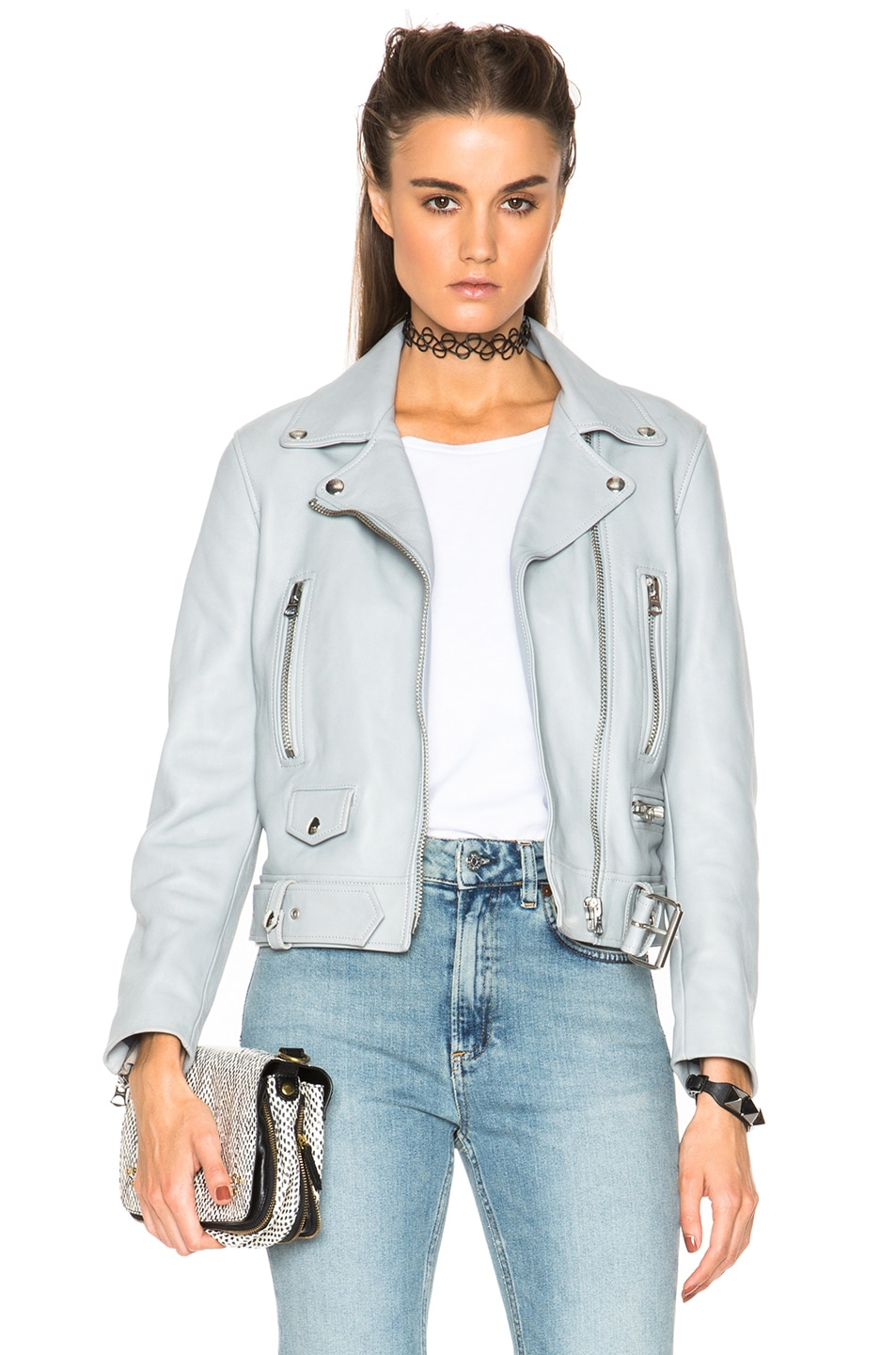 Image 1 of Acne Studios Mock Leather Jacket in Pale Lavender