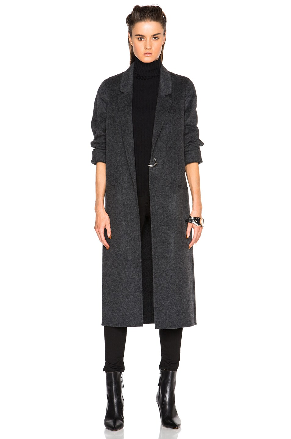 Image 2 of Acne Studios Foin Double Wool Coat in Dark Grey