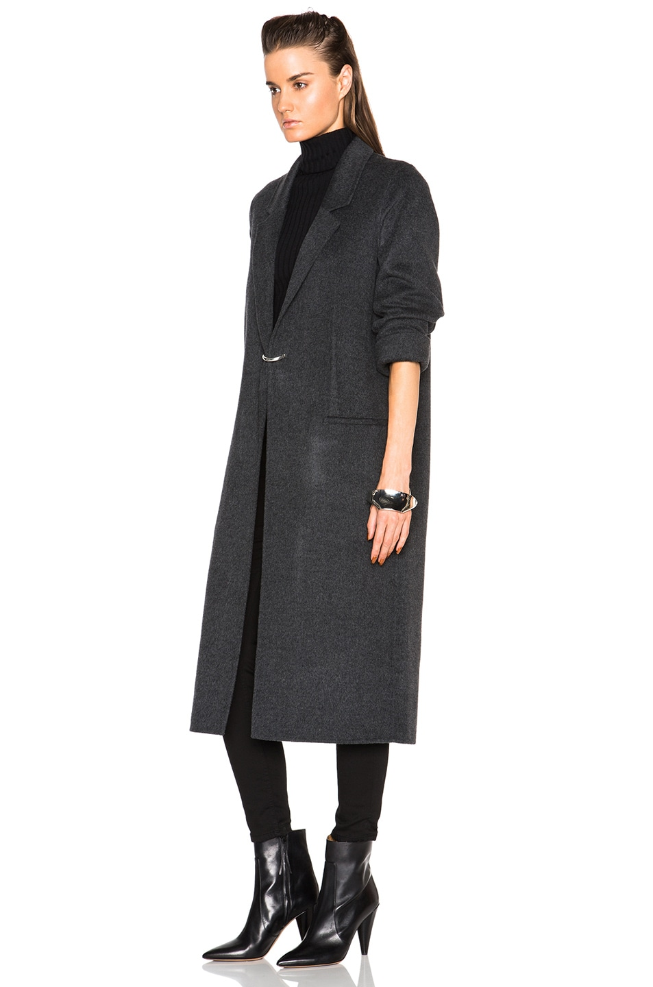 Image 3 of Acne Studios Foin Double Wool Coat in Dark Grey