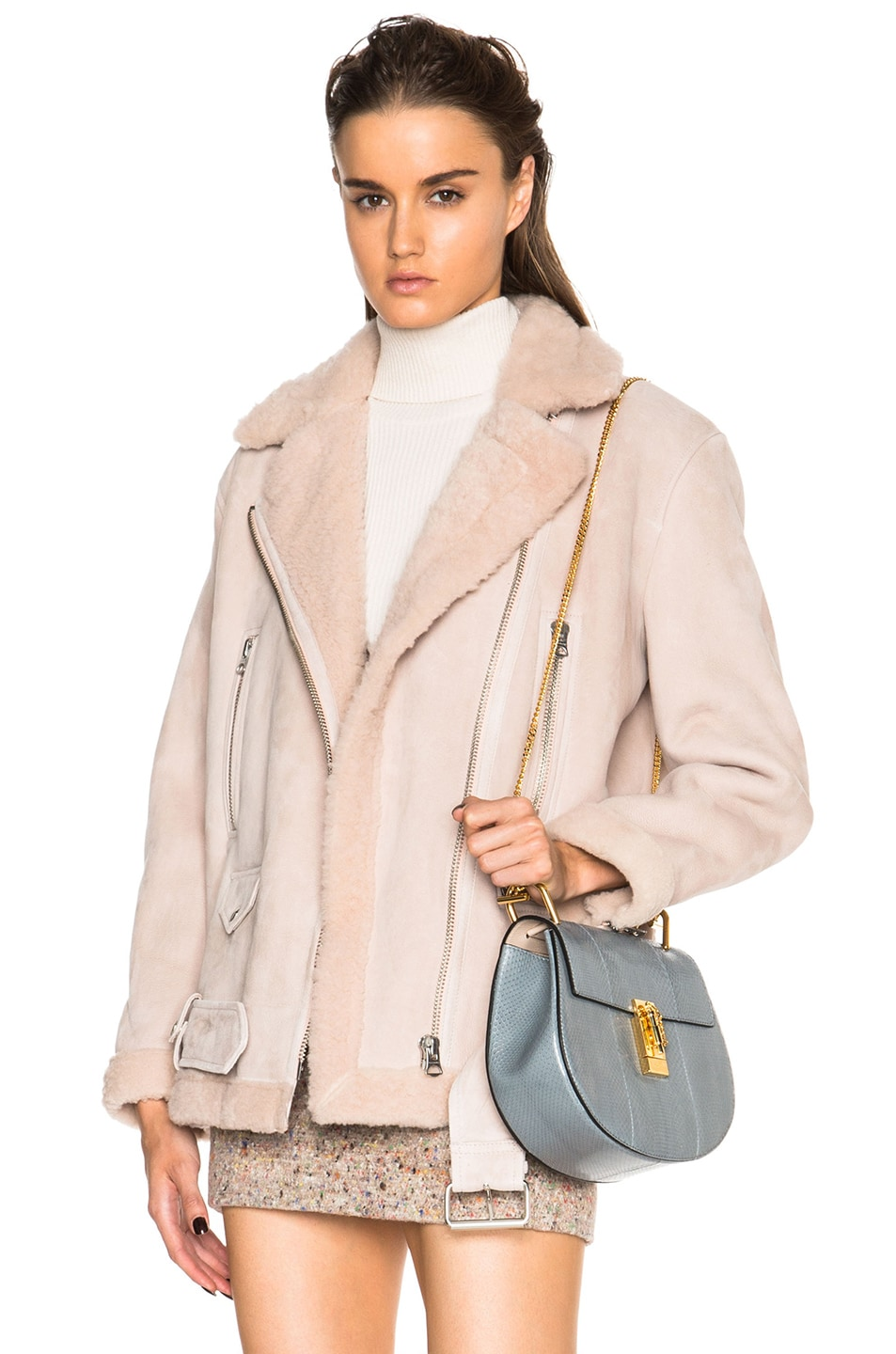 Image 1 of Acne Studios More Lamb Shearling Jacket in Powder Pink