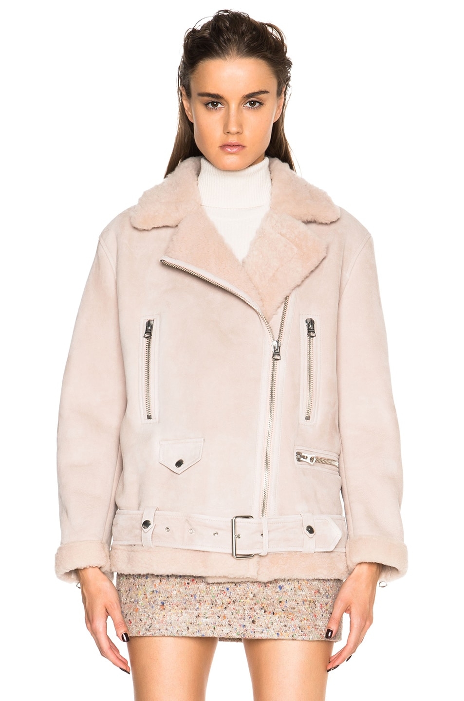 Image 2 of Acne Studios More Lamb Shearling Jacket in Powder Pink