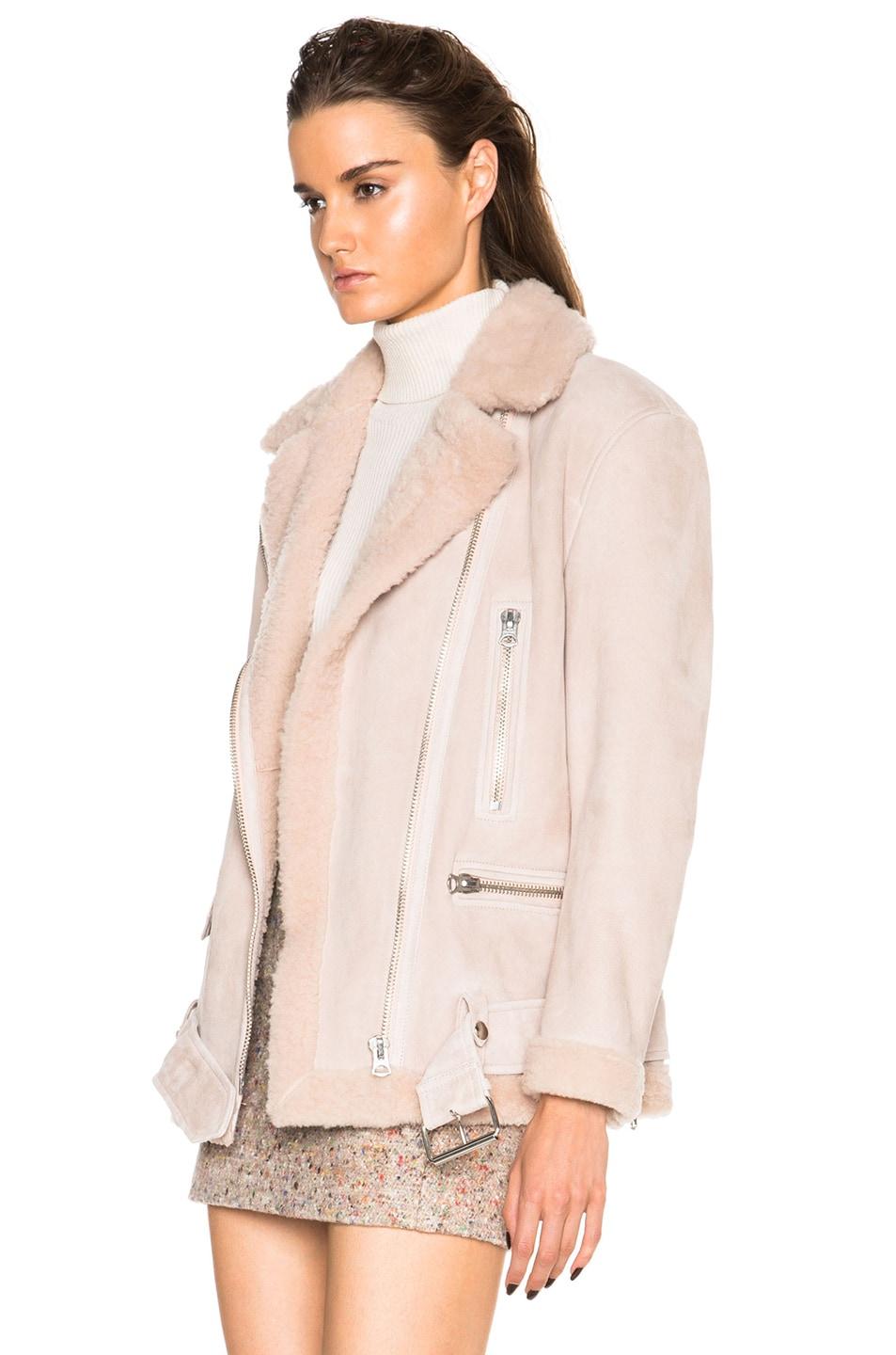 Image 3 of Acne Studios More Lamb Shearling Jacket in Powder Pink