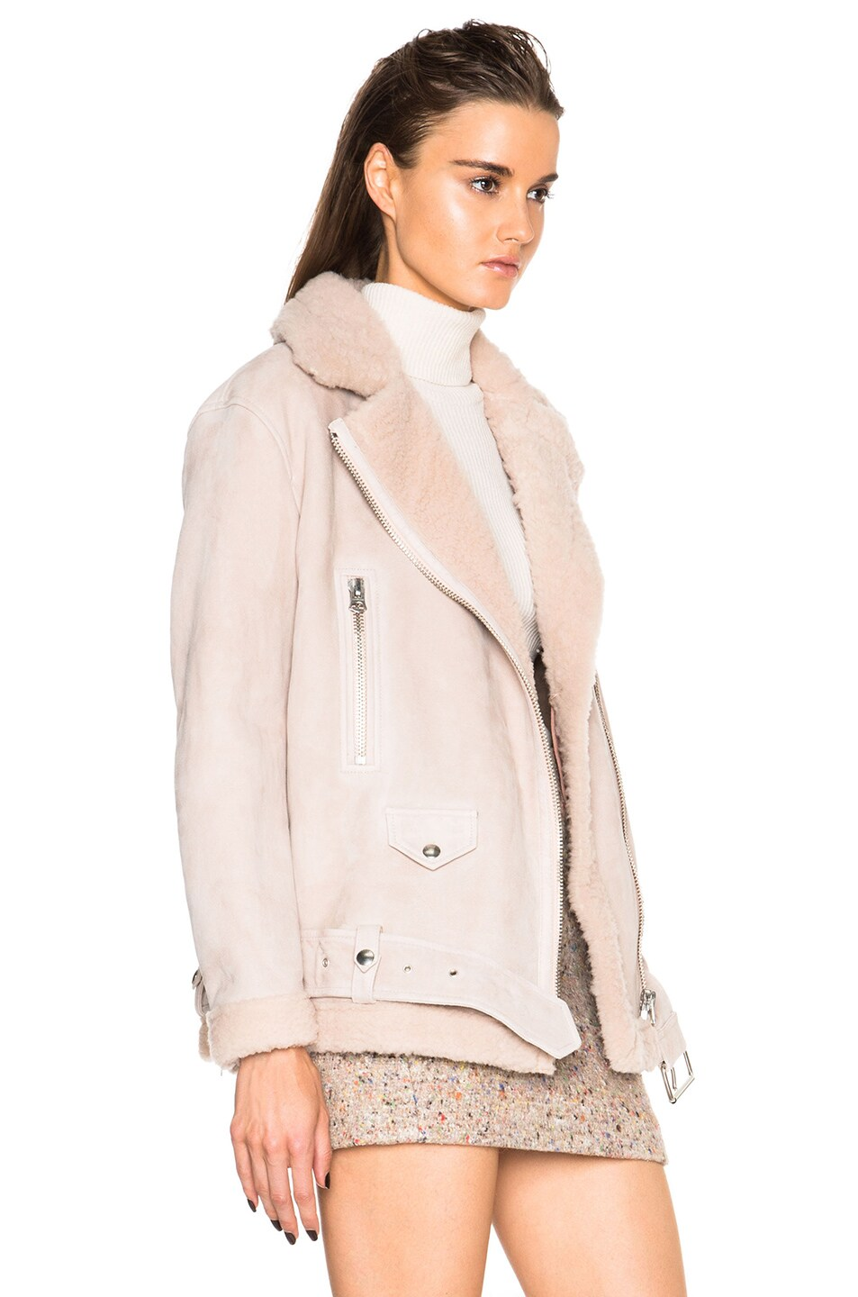 Image 4 of Acne Studios More Lamb Shearling Jacket in Powder Pink