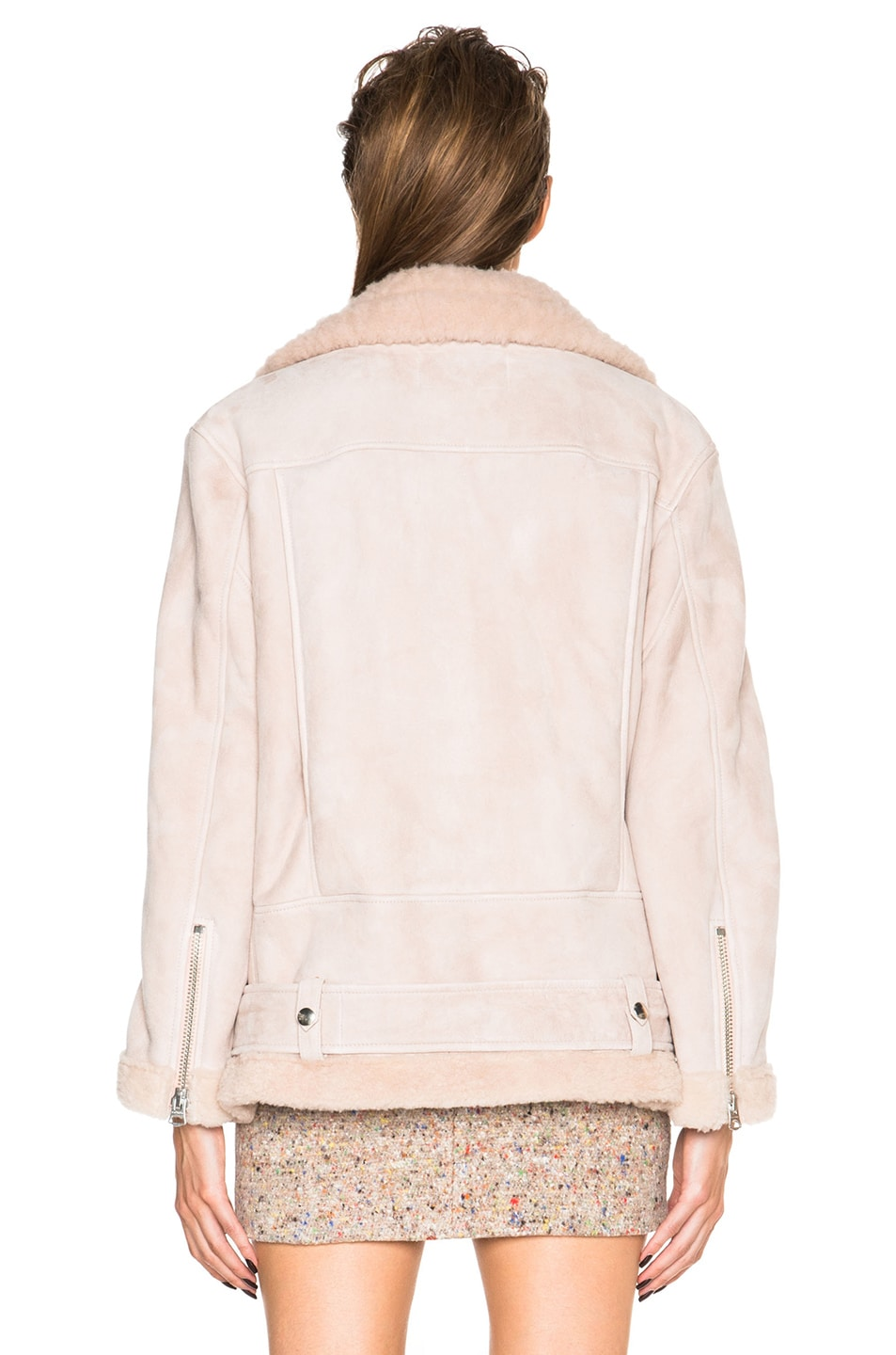 Image 5 of Acne Studios More Lamb Shearling Jacket in Powder Pink