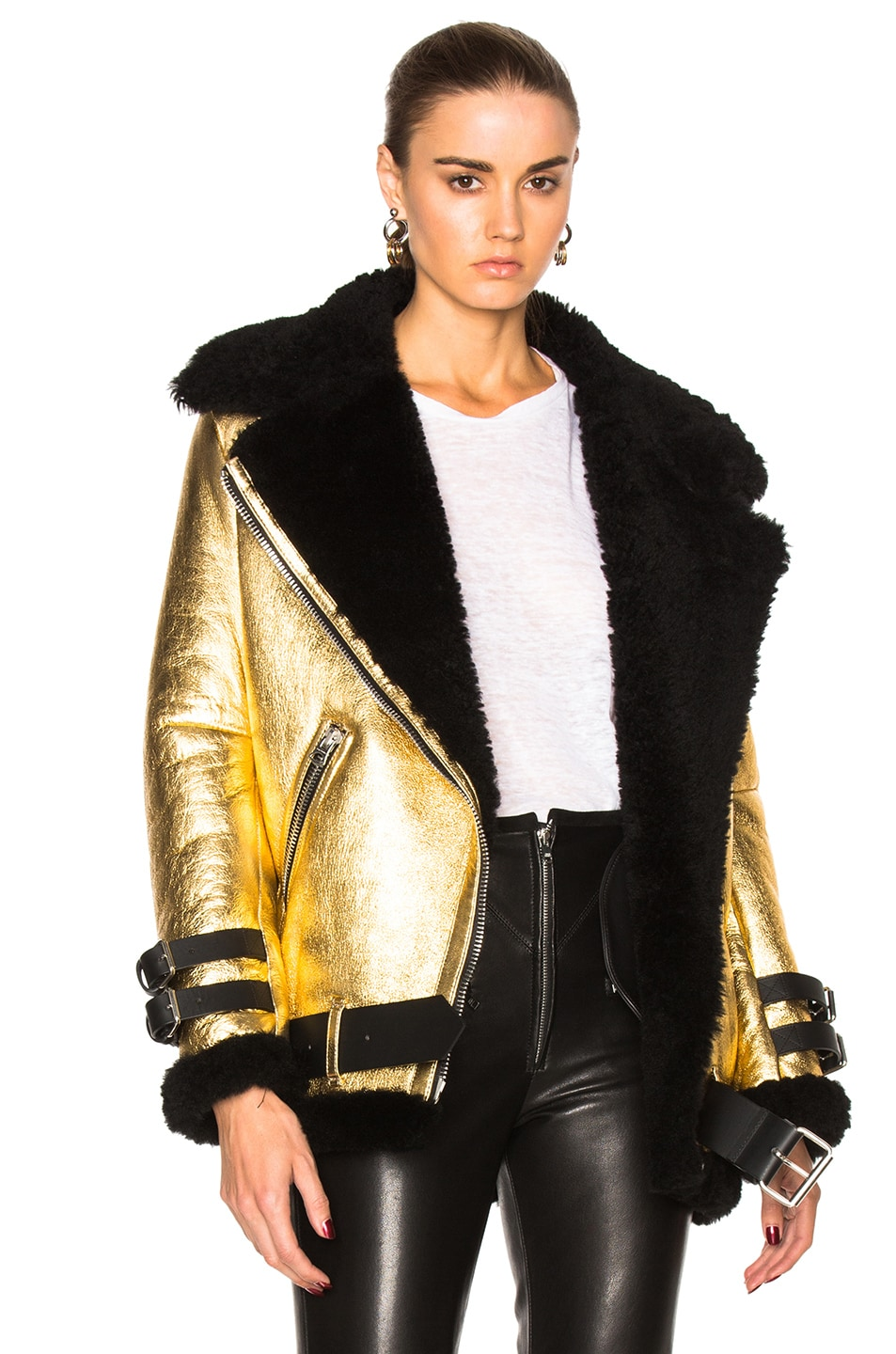 Image 1 of Acne Studios Velocite Metallic Jacket in Black & Gold