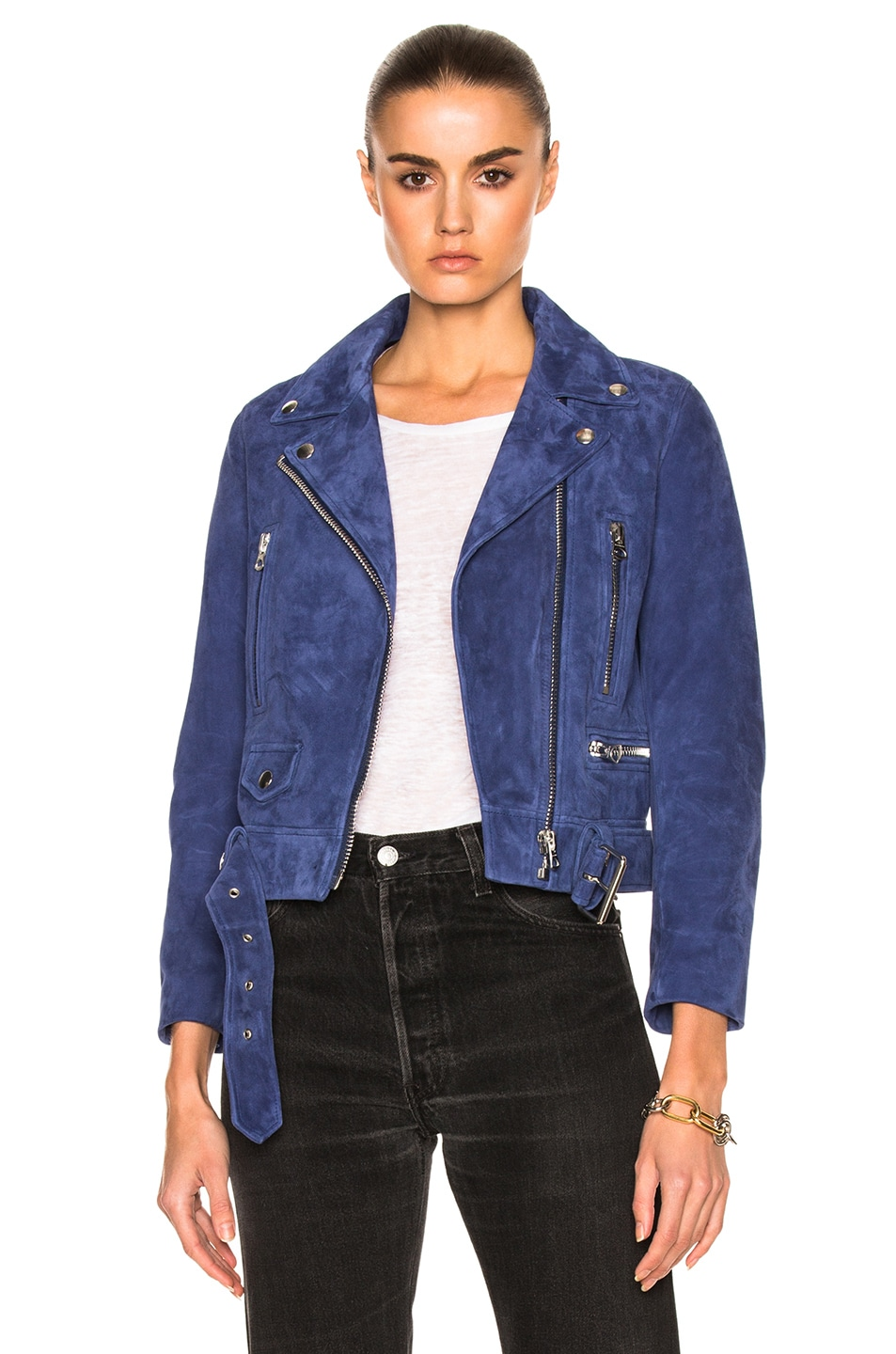 Image 1 of Acne Studios Mock Suede Leather Jacket in Dark Blue