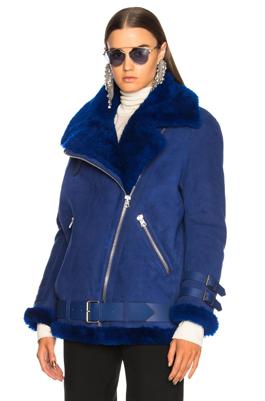 Image 2 of Acne Studios Velocite Suede Jacket in Ultramarine Blue & Ultramarine