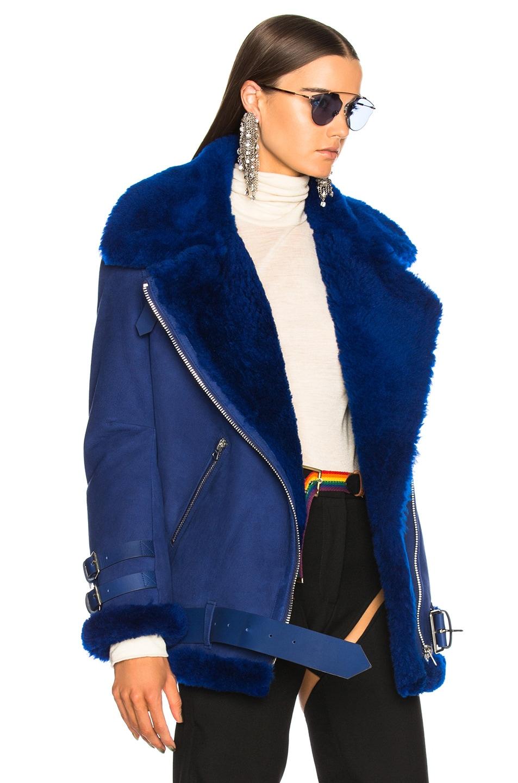Image 3 of Acne Studios Velocite Suede Jacket in Ultramarine Blue & Ultramarine