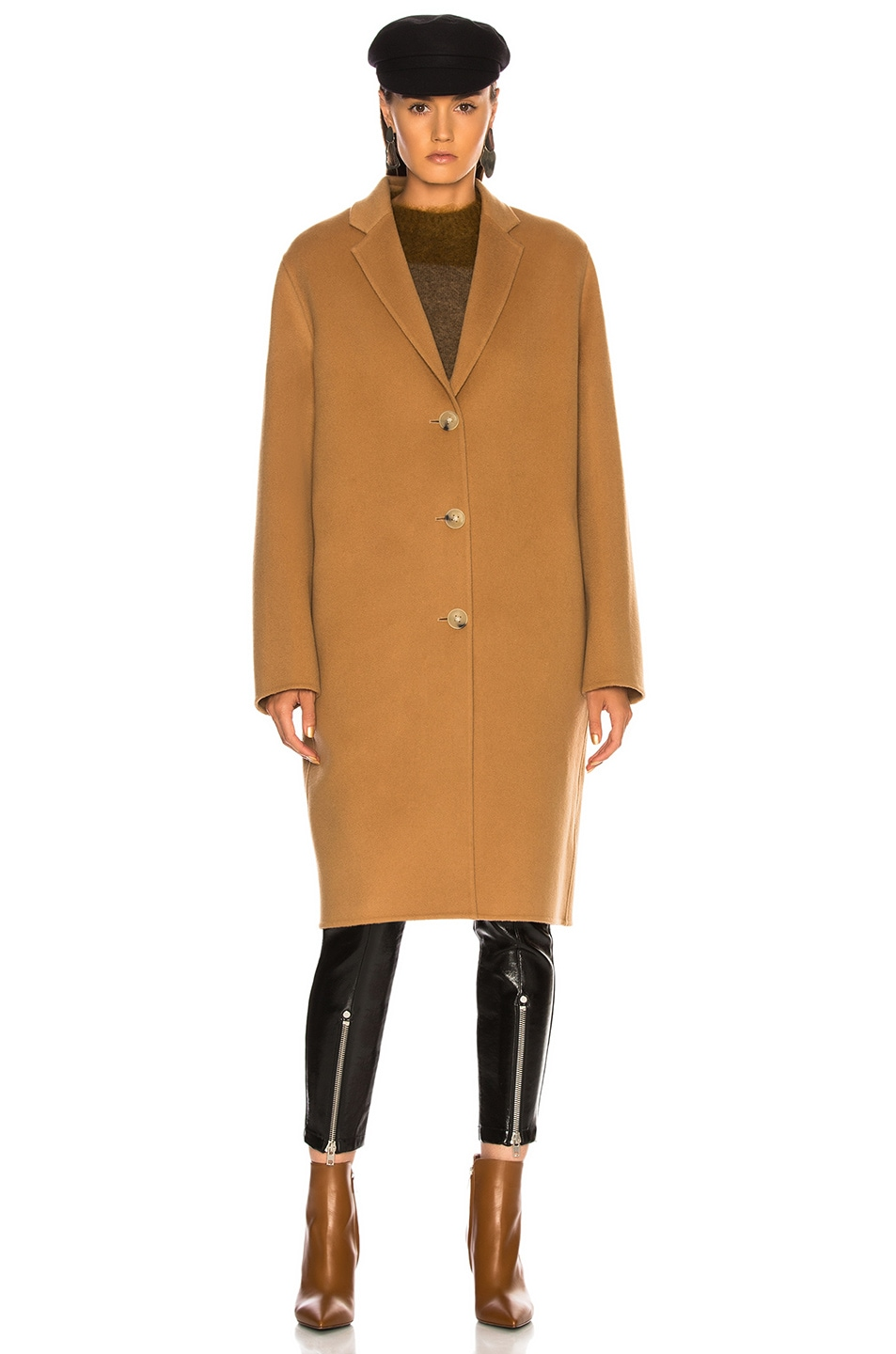 Image 3 of Acne Studios Avalon Double Coat in Camel Brown