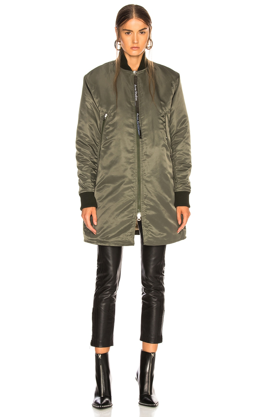 Image 2 of Acne Studios Long Bomber Jacket in Pine Green