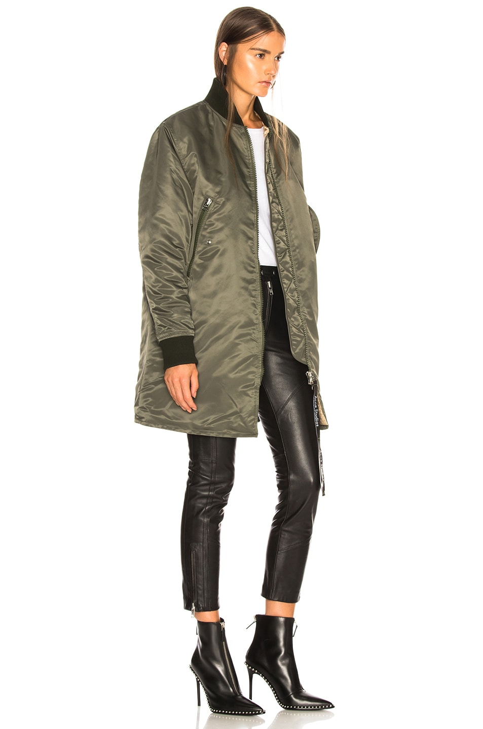 Image 3 of Acne Studios Long Bomber Jacket in Pine Green