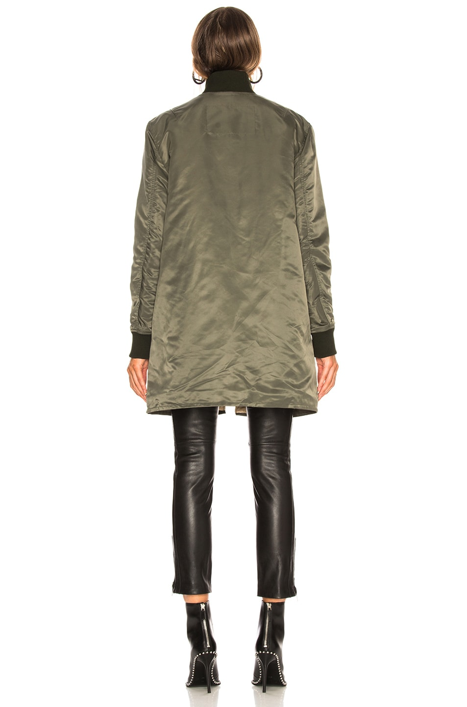 Image 5 of Acne Studios Long Bomber Jacket in Pine Green