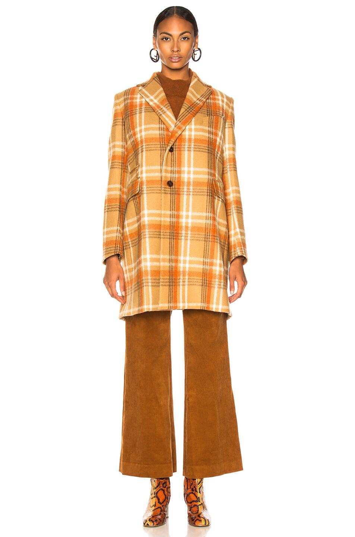 Image 2 of Acne Studios Plaid Coat in Camel & Beige