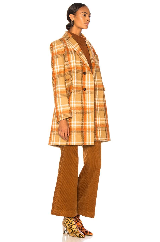 Image 3 of Acne Studios Plaid Coat in Camel & Beige