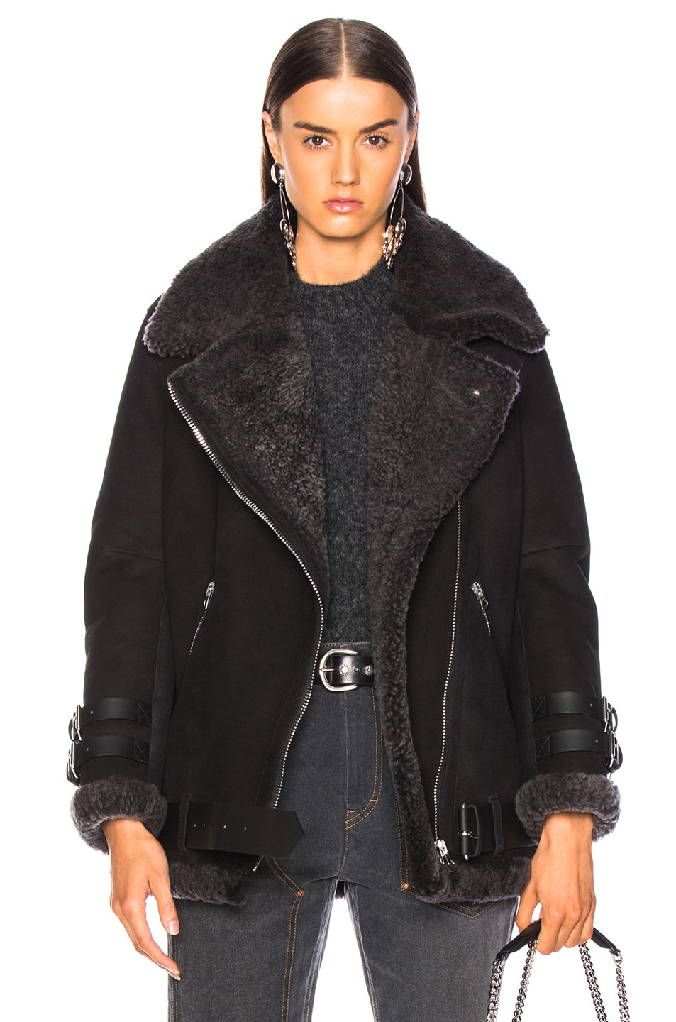 Image 1 of Acne Studios Velocite Suede Jacket in Black & Dark Grey