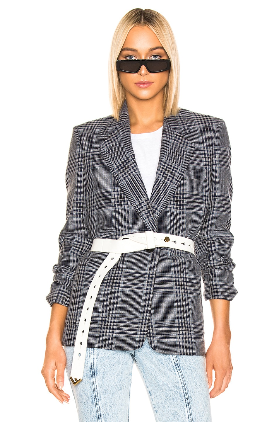 Image 1 of Acne Studios Jana Check Suit Jacket in Navy & Navy