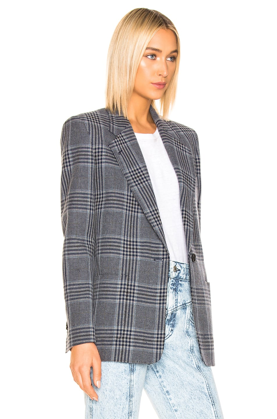 Image 3 of Acne Studios Jana Check Suit Jacket in Navy & Navy