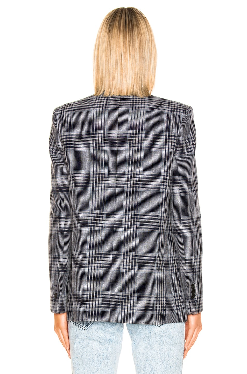 Image 4 of Acne Studios Jana Check Suit Jacket in Navy & Navy