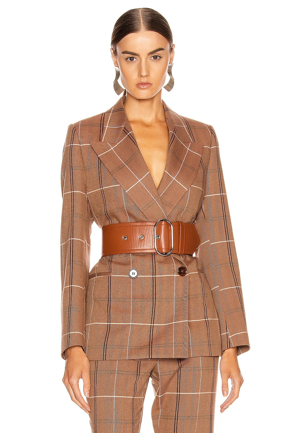 Image 1 of Acne Studios Suit Jacket in Brown & White