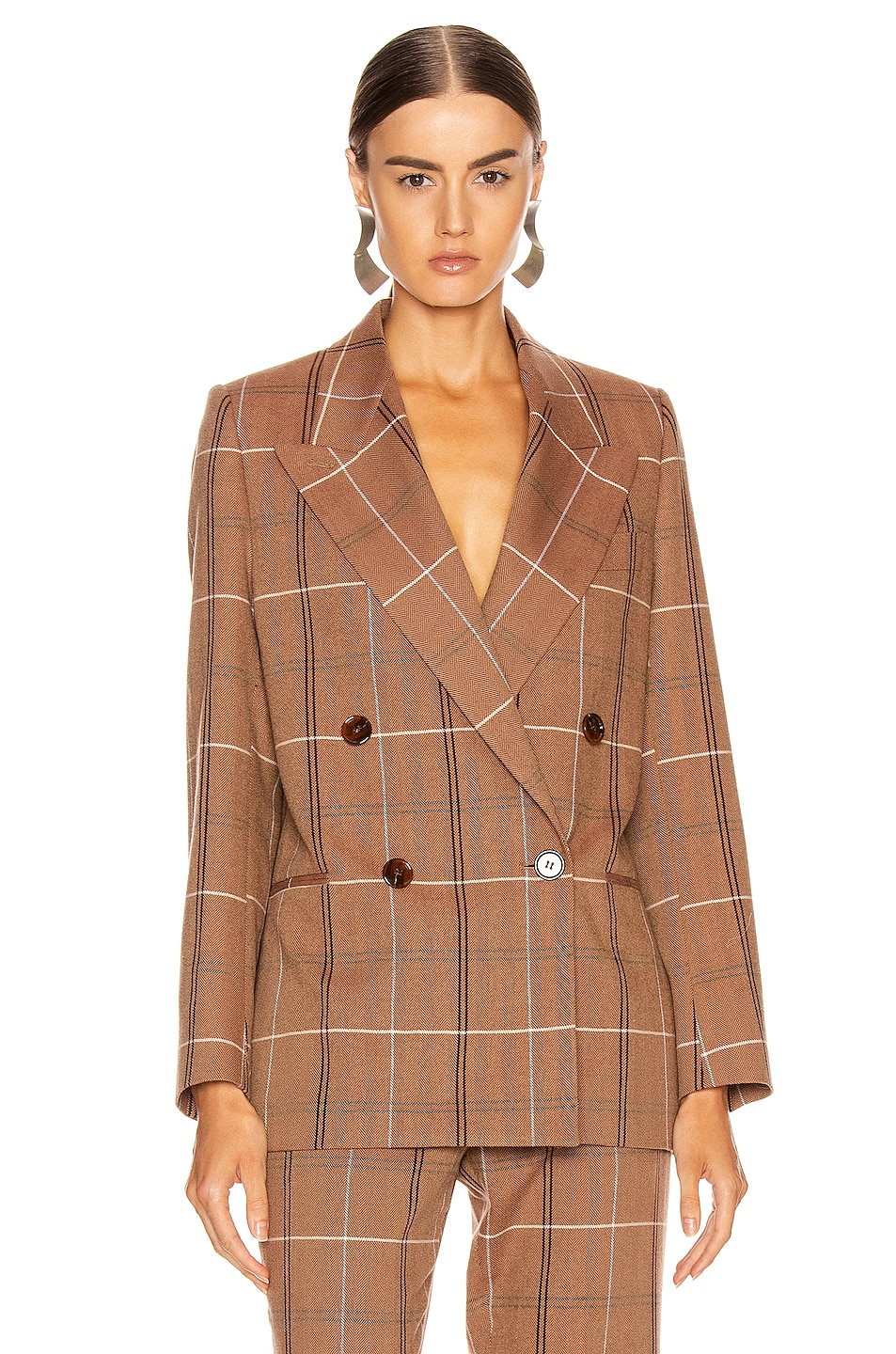 Image 2 of Acne Studios Suit Jacket in Brown & White