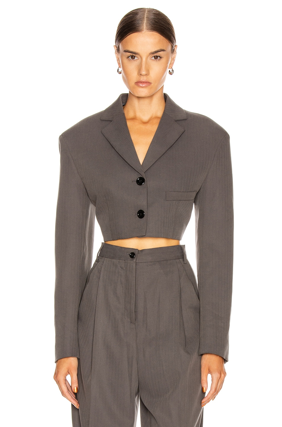 Image 2 of Acne Studios Judethe Suit Jacket in Charcoal Grey