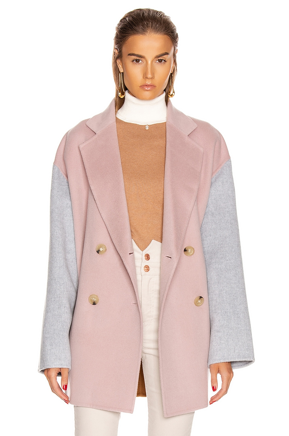 Image 1 of Acne Studios Odine Double Coat in Powder Pink Melange