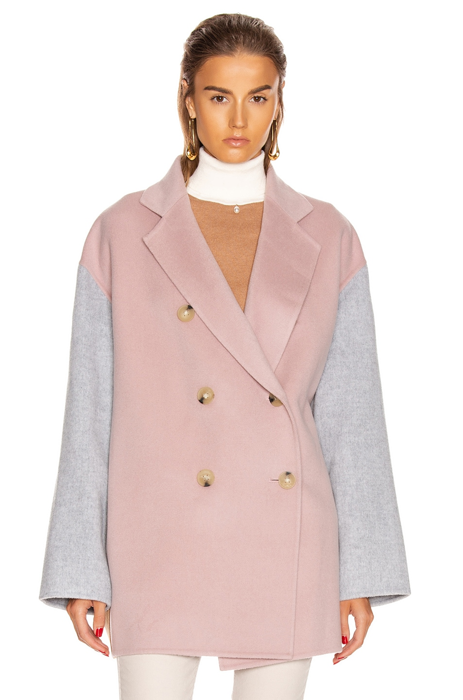 Image 2 of Acne Studios Odine Double Coat in Powder Pink Melange