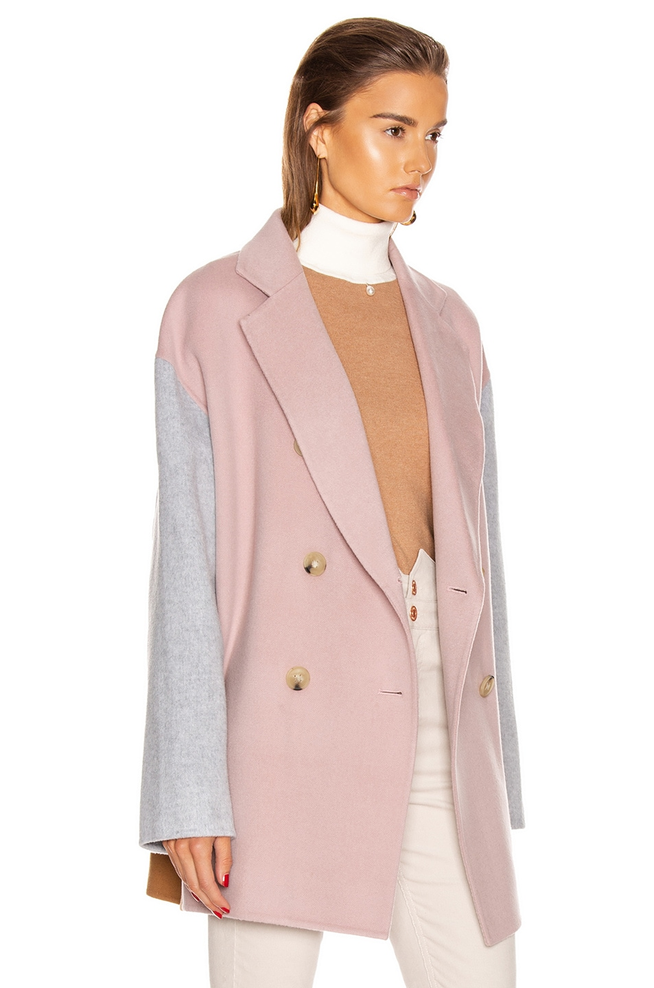 Image 3 of Acne Studios Odine Double Coat in Powder Pink Melange