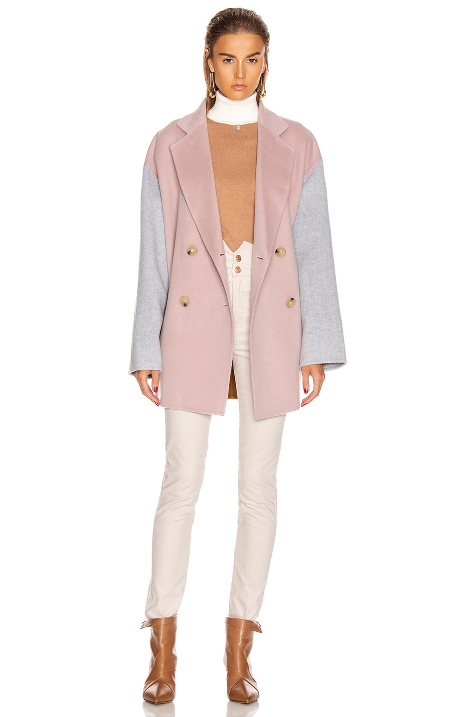 Image 5 of Acne Studios Odine Double Coat in Powder Pink Melange