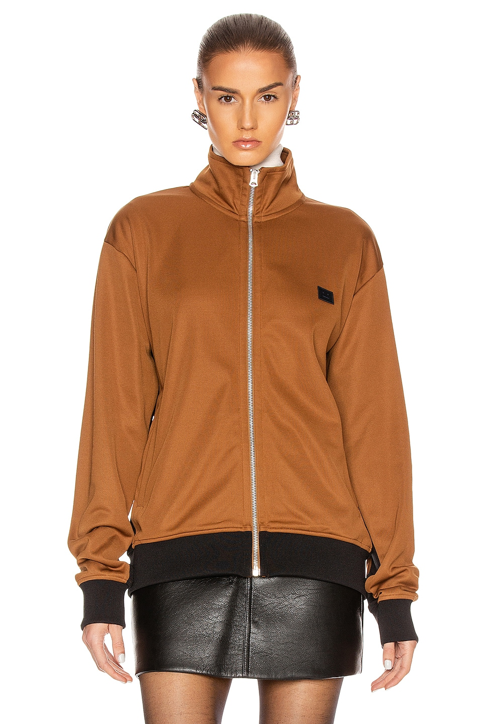Image 2 of Acne Studios Frescot Face Jacket in Caramel Brown
