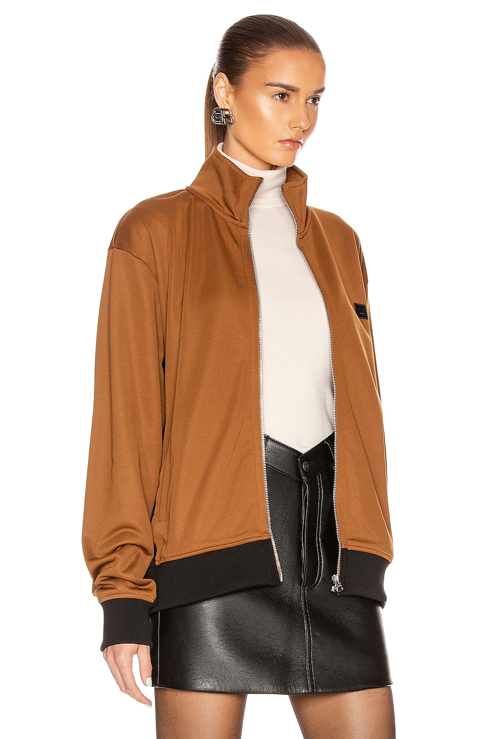 Image 3 of Acne Studios Frescot Face Jacket in Caramel Brown