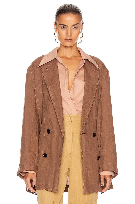 Image 1 of Acne Studios Linen Suit Jacket in Mink Brown
