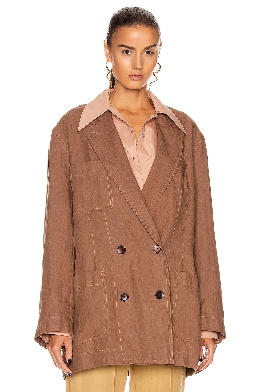 Image 2 of Acne Studios Linen Suit Jacket in Mink Brown